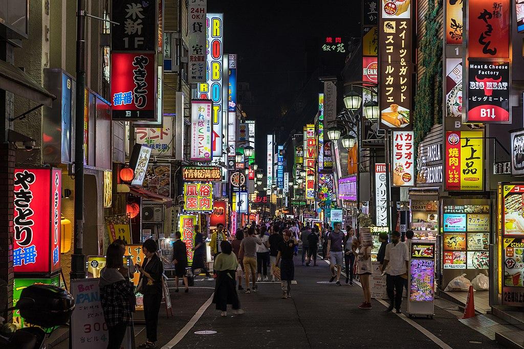Colorful neon street signs in Kabukichō, Shinjuku, Tokyo