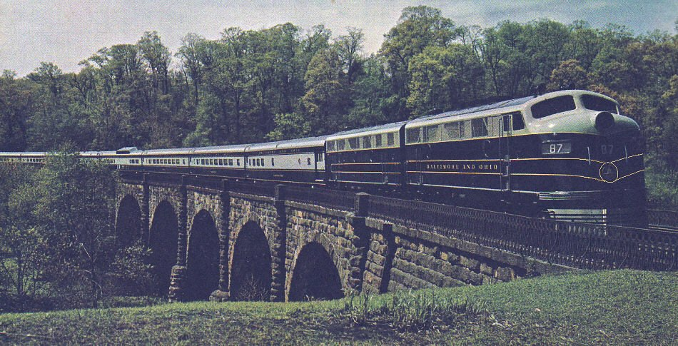 The Columbian on Thomas Viaduct, Relay, Maryland, in 1949