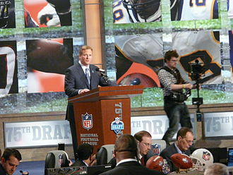 National Football League Draft - League commissioner Roger Goodell announcing a pick live at the 2010 NFL Draft