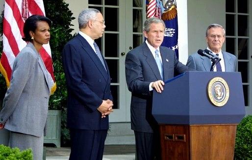 Condoleezza Rice Colin Powell George W. Bush Donald Rumsfeld
