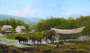 Conestoga wagon - Painting depicting a Conestoga wagon. Note the severe angles at either end and the curved center, characteristics of the large Conestoga compared to other varieties of covered wagon.