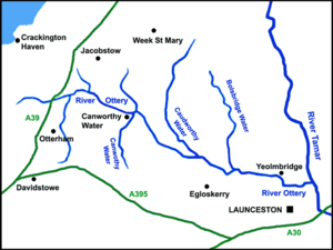 River Ottery - Sketch map of the River Ottery and tributaries (click to enlarge)