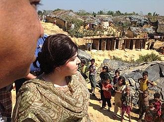 Sayeeda Warsi, Baroness Warsi - Warsi at Kutupalong Refugee Camp for Rohingya in Bangladesh in 2013.