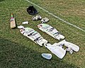 Cricket equipment at Southwater CC, in Southwater, West Sussex, England.jpg