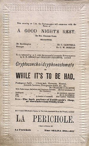 Cryptoconchoidsyphonostomata - Royalty Theatre programme, March 1875, with Cryptoconchoidsyphonostomata on the bill
