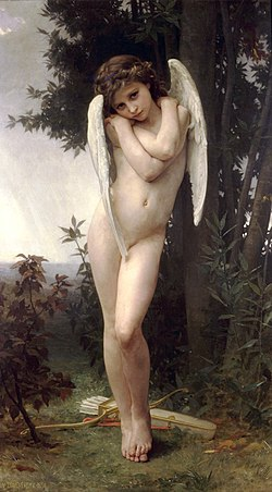 "Cupidon (French for Cupid), by William-Adolphe Bouguereau, 1875; the tip of the right wing ""happens to cover"" the boy's genitals."