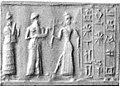 Cylinder seal and modern impression- suppliant goddess and offering bearer approaching Ishtar, three columns of inscription MET 1999,325,021.jpg