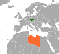 Map indicating locations of Czech Republic and Libya