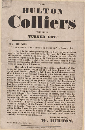 "Hulton Colliery Company - 'To The Hulton Colliers who have ""Turned Out""'"