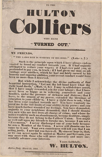 """Hulton Colliery Company - 'To The Hulton Colliers who have """"Turned Out""""'"""