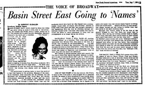 "Dorothy Dandridge - On Tuesday afternoon, September 7, 1965, New Yorkers learned Dorothy Dandridge was scheduled to begin an engagement ""this Friday"" at the nightclub called Basin Street East."