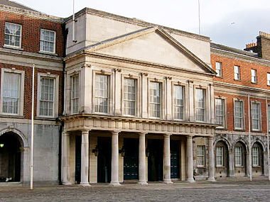 The Viceregal Apartments in Dublin Castle - the official 'season' residence of the Lord Lieutenant Dcastlemaindoor.jpg