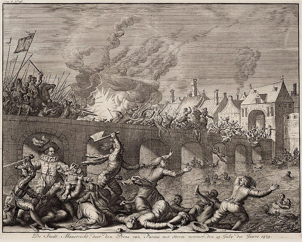 De stadt Maastricht, door den prins van Parma (Alexander Farnese) met storm verovert, den 29 july des jaars 1579 (Jan Luyken, 1679)