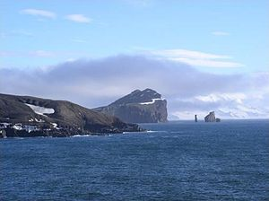 Deception Island - Entrance to Deception Island, with Livingston Island in the background