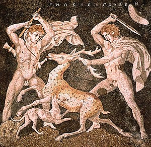 Mosaic - Stag Hunt Mosaic from the House of the Abduction of Helen at Pella, ancient Macedonia, late 4th century BC