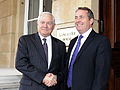Defense.gov News Photo 100608-F-6655M-002 - Secretary of Defense Robert M. Gates poses for photos with British Defense Secretary Liam Fox at the Lancaster House in London on June 8, 2010.jpg