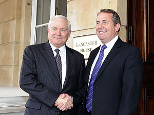 Liam Fox - Fox with US Defense Secretary Robert Gates in 2010