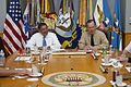 Defense.gov News Photo 110701-N-TT977-038 - Chairman of the Joint Chiefs of Staff Adm. Mike Mullen speaks with new Secretary of Defense Leon E. Panetta during his first visit to the Tank to.jpg