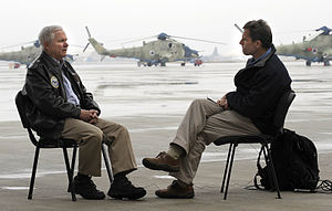 Terry McCarthy (journalist) - U.S. Defense Secretary Robert M. Gates, left, talks with CBS correspondent Terry McCarthy, right, during an interview in Kabul, Dec. 9, 2009.