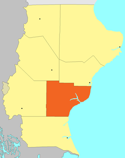 Location of Corpen Aike Department in Santa Cruz Province.