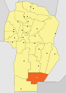 Location of Presidente Roque Sáenz Peña Department in Córdoba Province