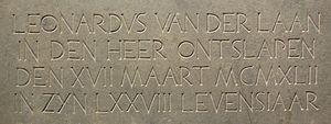 Leo van der Laan - Memorial stone of Leo van der Lann in St. Joseph's Church, Leiden