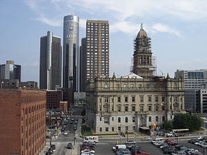 Culture of Detroit - The giant decal on the Renaissance Center, for the 2005 MLB All-Star Game, represents 4,612 feet (1,375 m) to the home plate in Comerica Park.