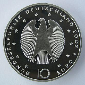 Euro gold and silver commemorative coins (Germany) - Image: Deutsche Gedenkmuenzen Waehrungsunion, Wertseite IMG 2612