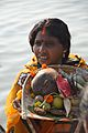 Devotee with Offering - Chhath Puja Ceremony - Ramkrishnapur Ghat - Howrah 2013-11-09 4147.JPG