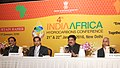 Dharmendra Pradhan addressing the curtain-raiser press conference on the 4th India-Africa Hydrocarbons Conference, in New Delhi. The Secretary, Ministry of Petroleum and Natural Gas, Shri K.D. Tripathi is also seen.jpg