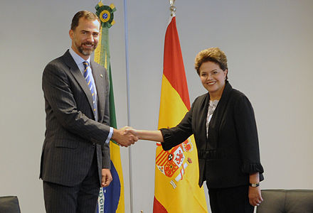 Felipe and elected president Dilma Rousseff of Brazil, 2010 Dilma Rousseff and Felipe Prince of Asturias 2010.jpg