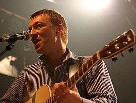 Singer Jochen Distelmeyer during a Blumfeld concert in 2007