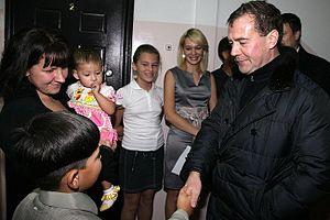 Kuril Islands dispute - Russian President Dmitry Medvedev met local residents in Yuzhno-Kurilsk, 1 November 2010