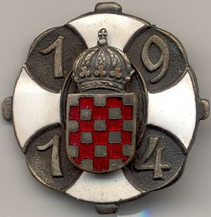 Kingdom of Croatia-Slavonia - A patriotic badge from 1914 containing Croatian Coat of Arms