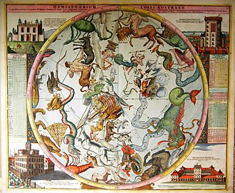 Johann Gabriel Doppelmayr - Doppelmayr's celestial map of the southern hemisphere published in Atlas Coelestis in quo Mundus Spectabilis..., decorated with vignettes of the astronomical observatories at Greenwich, Copenhagen, Cassel, and Berlin.