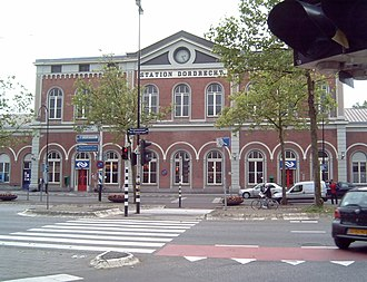 Dordrecht railway station - The front of the historic station building.