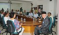 Dr. Farooq Abdullah addressing the official meeting after taking over the charge of the office of Minister of New and Renewable Energy, in New Delhi on May 29, 2009 (1).jpg
