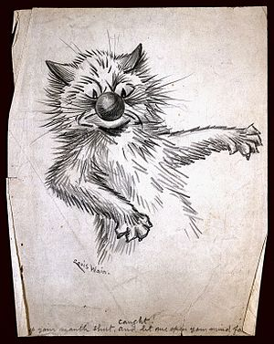 Louis Wain - Drawing by Louis Wain entitled 'Caught! Keep your mouth shut and let me open your mind for you'