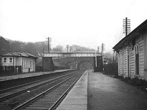 Dronfield railway station - The original Midland Railway station buildings were still standing at the centenary. 1 February 1970