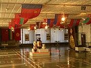 A hall in Bishkek's Soviet-era Lenin Museum decked with the flags of Soviet Republics