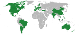 Countries for which eBay is localized.