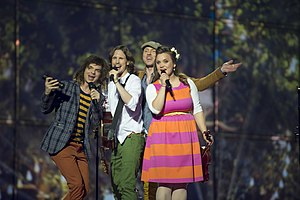 Latvia in the Eurovision Song Contest 2014 - Aarzemnieki at the first semi-final dress rehearsal