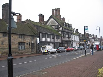 East Grinstead - A long row of 14th century timber framed buildings in England located on East Grinstead High Street.