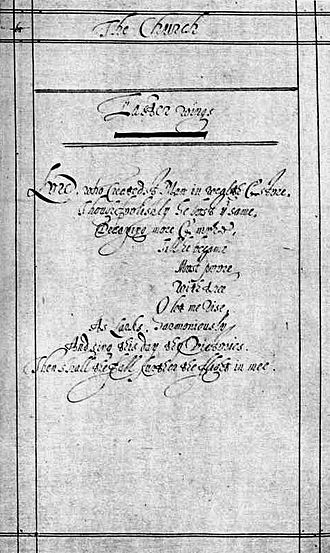 Easter Wings - A copy of the manuscript written for presentation to the Cambridge University press in 1633