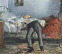 Le Suicidé (The Suicide), a nineteenth century oil painting by Édouard Manet. A man lies on a bed with blood on his shirt and a pistol in his hand.