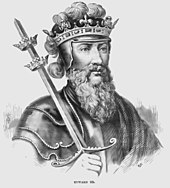 a black and white line drawing of Edward III