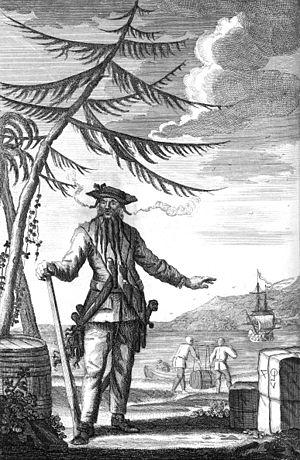 Blackbeard - Image: Edward Teach Commonly Call'd Black Beard (bw)