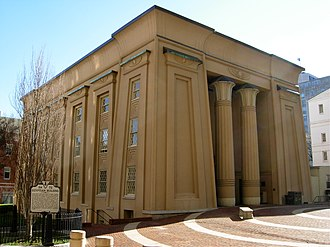 Cornice - The Egyptian Building (1845) in Richmond, Virginia, with massive cavetto cornice and bell capitals