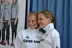 Germany at the 2016 Summer Olympics - The Hahner twins at the unveiling of the German Olympic team uniform.