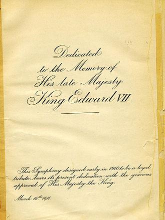 Symphony No. 2 (Elgar) - Dedication page to Elgar's Symphony No. 2